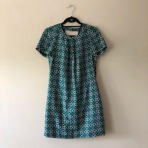 J. Crew green printed dress